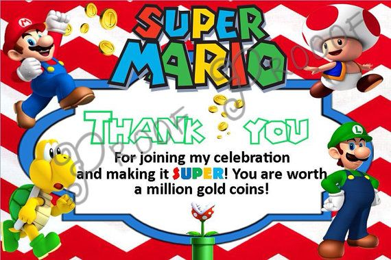 Mario Thank You Cards Inst Download Super Mario Thank You Card