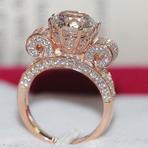 Details about Top Luxury Certified 3CT Moissanite Diamond Women Ring Pure  14K Rose Gold Ring