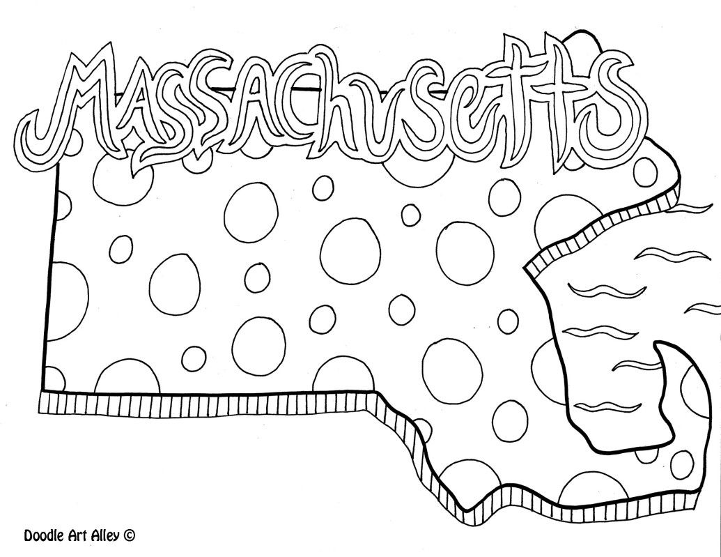 Massachusetts Coloring Page By Doodle Art Alley