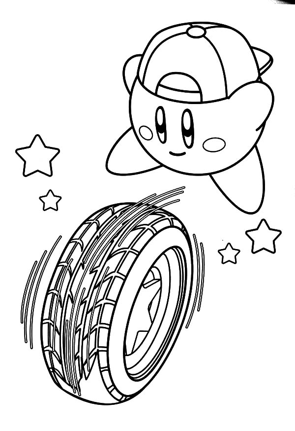Kirby Rolling Tire Coloring Pages Kids Play Color In 2020 Coloring Pages Kirby Coloring Books