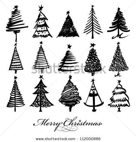 Vector Christmas Tree Design Set Christmas Tree Design Christmas Tree Drawing Christmas Vectors