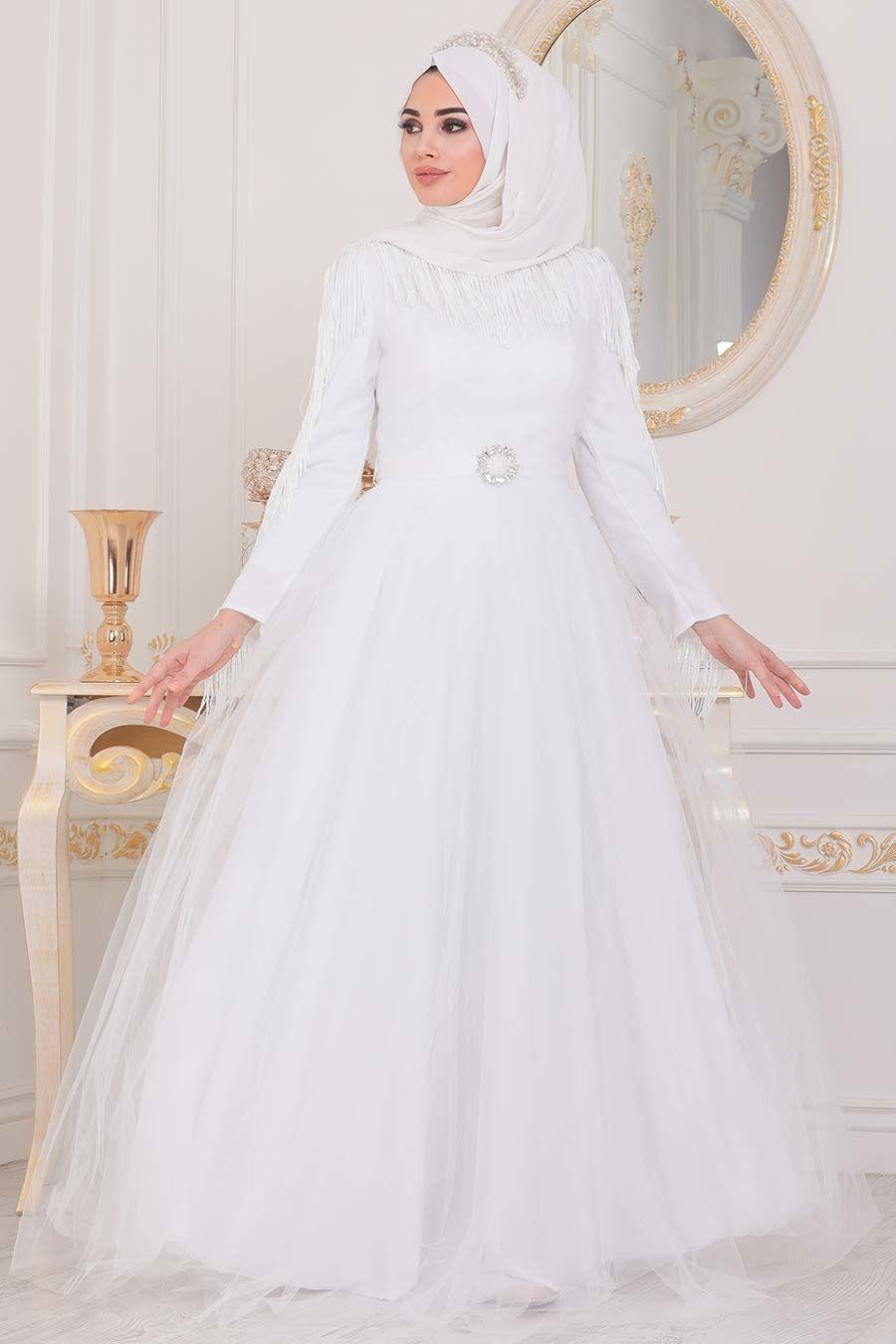 Tesetturlu Abiye Elbise Puskullu Beyaz Tesettur Abiye Elbise 40242b Tesetturisland Com 2020 Aksamustu Giysileri The Dress Elbise