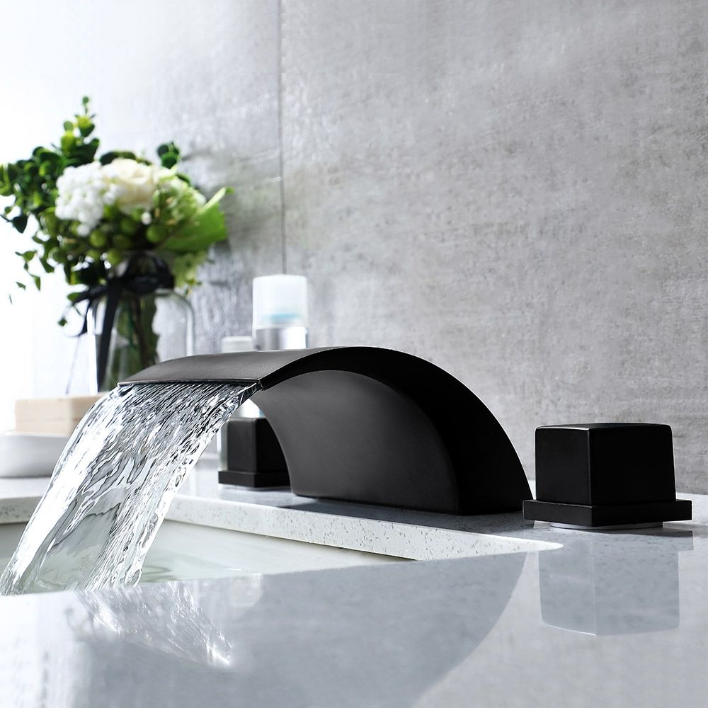 Modern Stylish Waterfall Roman Tub Faucet Double Handle Brass Deck Mounted Faucet In Matte Black In 2020 Roman Tub Faucets Black Bathtub Faucet Black Tub Faucet