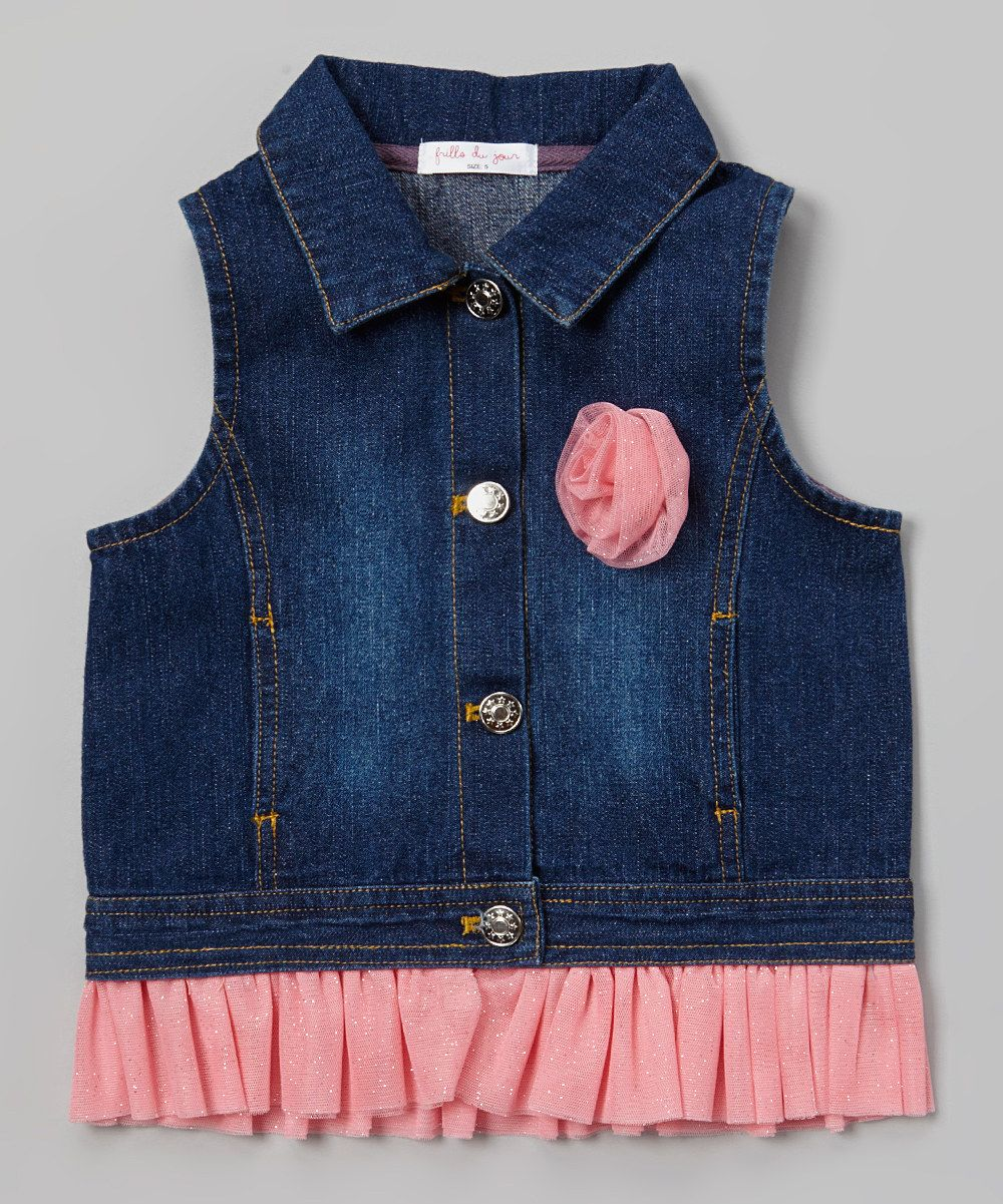 52847c50 This Pink Rose & Ruffle Denim Vest - Toddler & Girls by Frills Du Jour is