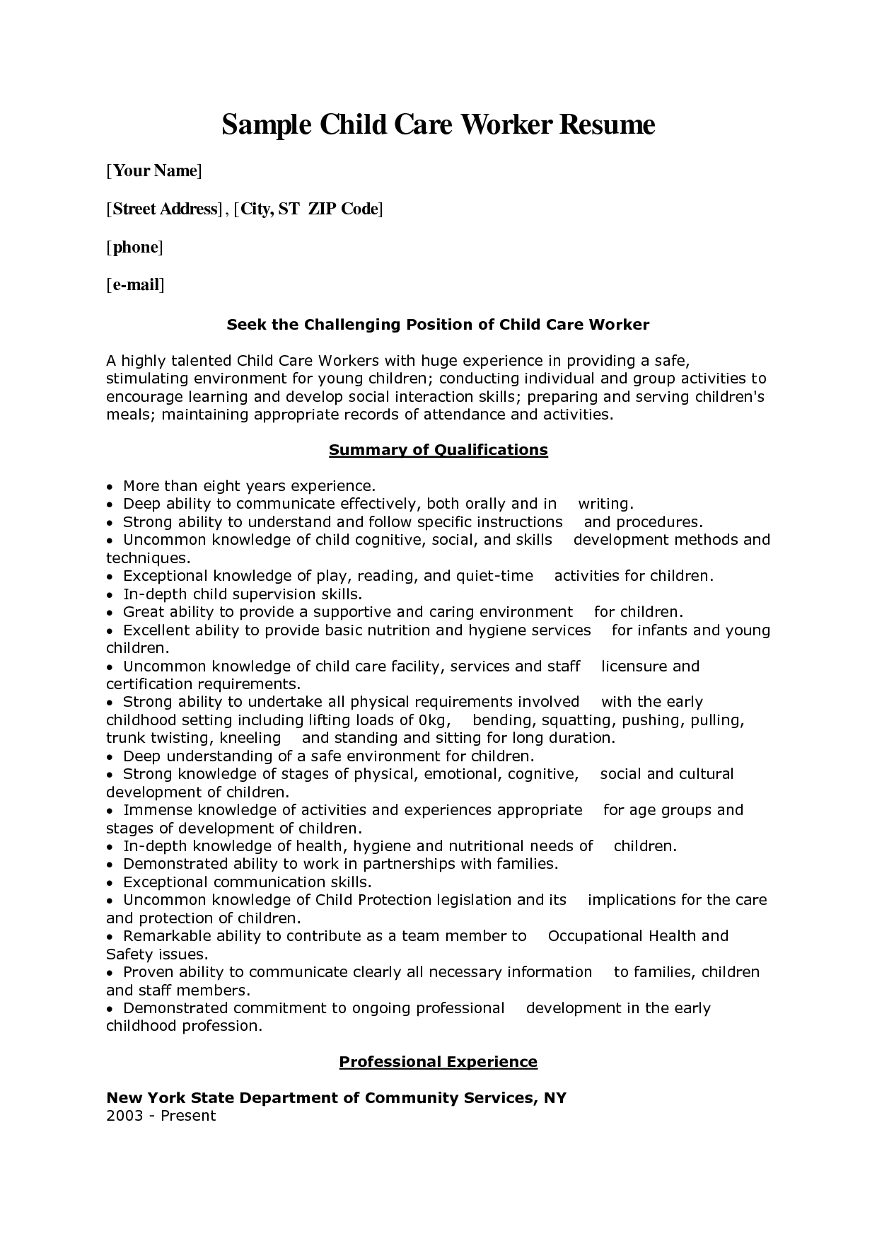 Good Child Welfare Specialist Sample Resume 10 Resume Cover Letter For Child Care  Worker   Writing Resume . Within Child Care Resume Sample
