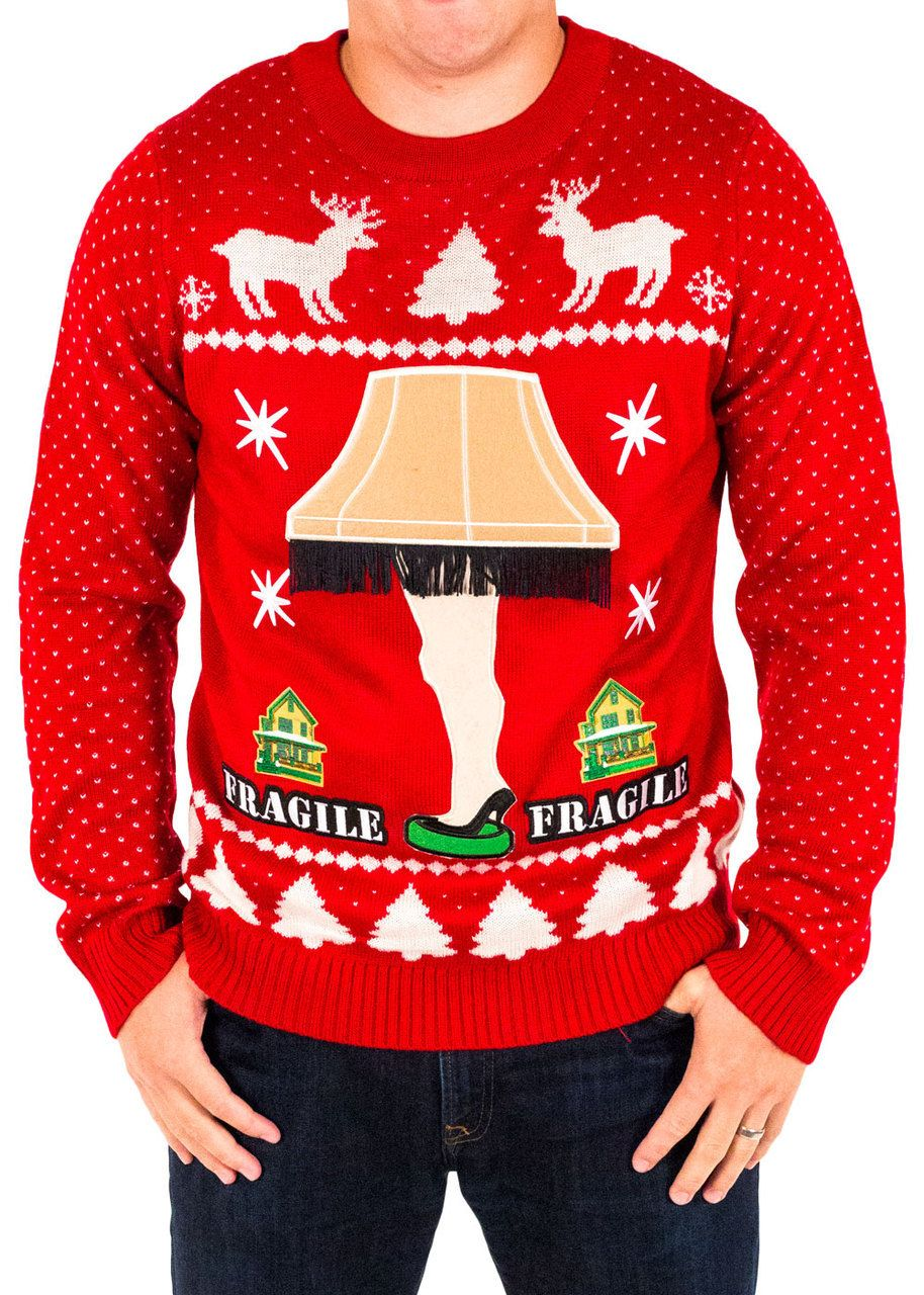 5b7e9d7ff Festified Men s A Christmas Story Leg Lamp House Sweater in Red ...