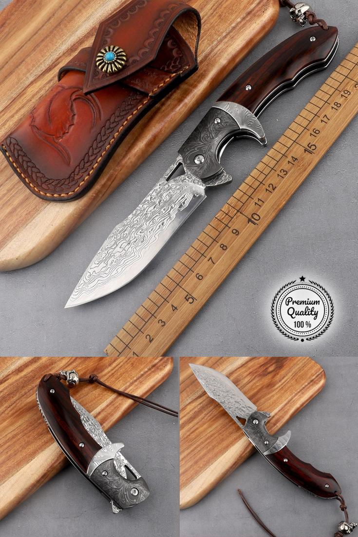 Vg10 Steel Damascus Folding Knife Pocket Knives Sheath Assist Flipper Knife Wood Damascus Steel Flipper Knife Tactical Knives