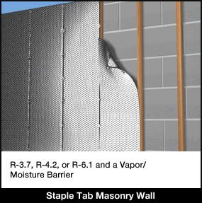 Concrete block wall insulation staple tab reflective for Insulated block house