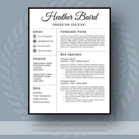 Modern Resume Template, Use with Microsoft Word Fully customizable