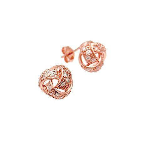 apop nyc Rose Goldtone Sterling Silver CZ Love Knot Earrings 10mm