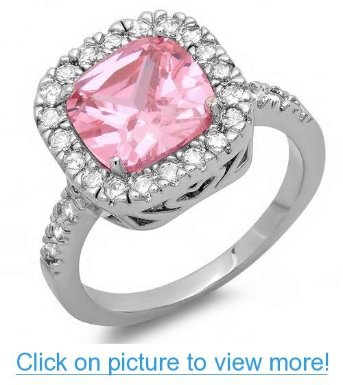 5.00 CT Platinum Plated Ladies Cushion $ Round Cut Pink $ White Cubic Zirconia CZ Engagement Bridal Ring (Available in size 6, 7, 8)