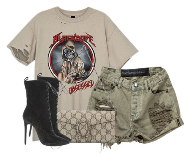 """""""Untitled #401"""" by mixed-guurl ❤ liked on Polyvore featuring OneTeaspoon and Gucci"""