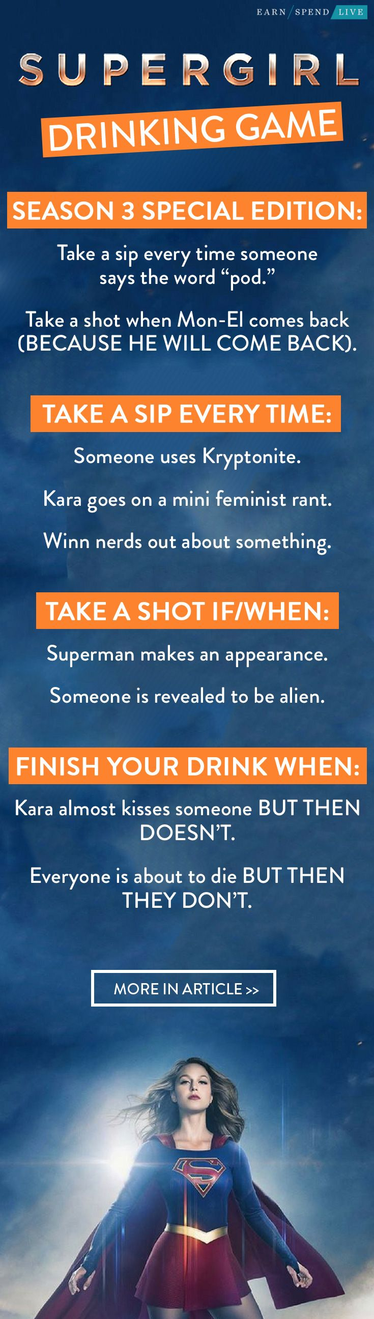 Supergirl Drinking Game, Super Girl drinking Game, Supergirl tv show ...