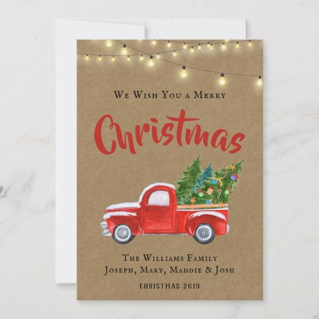 Vintage Red Truck Watercolor Rustic Holiday Card