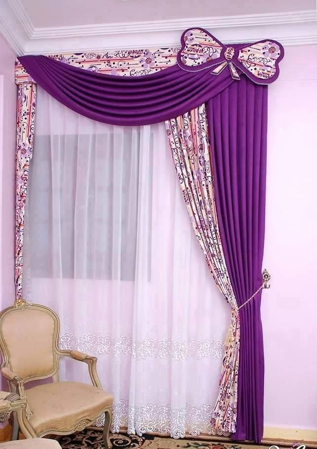 purple curtains with printed fabric and butterfly accent | curtans ...