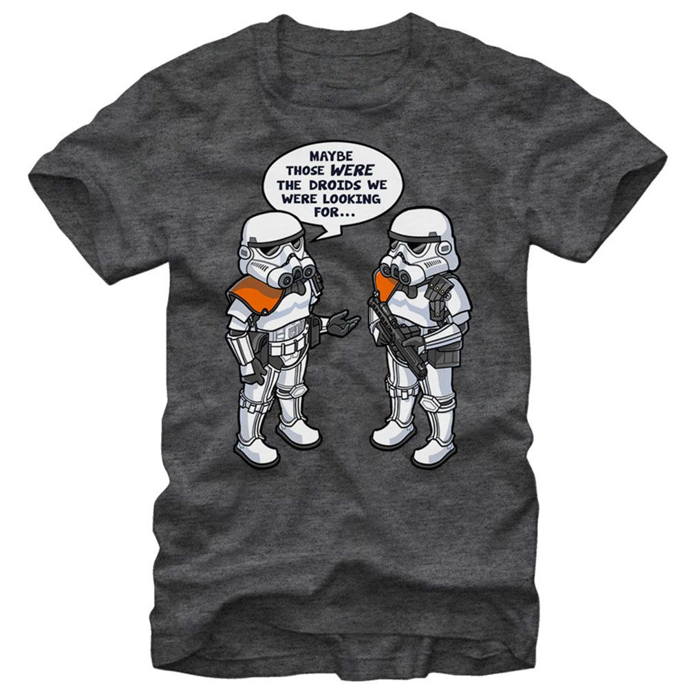 The Star Wars Wrong Droids Heather Charcoal TShirt