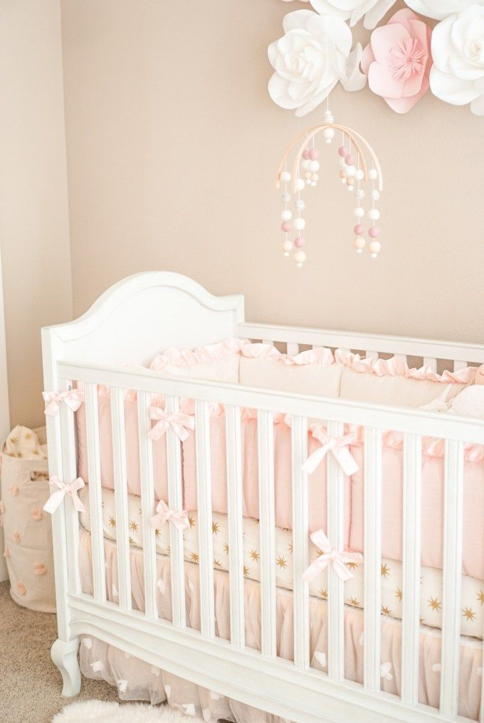 Pottery Barn Crib and Pink + Ivory decor... | Baby Girl Nursery ...