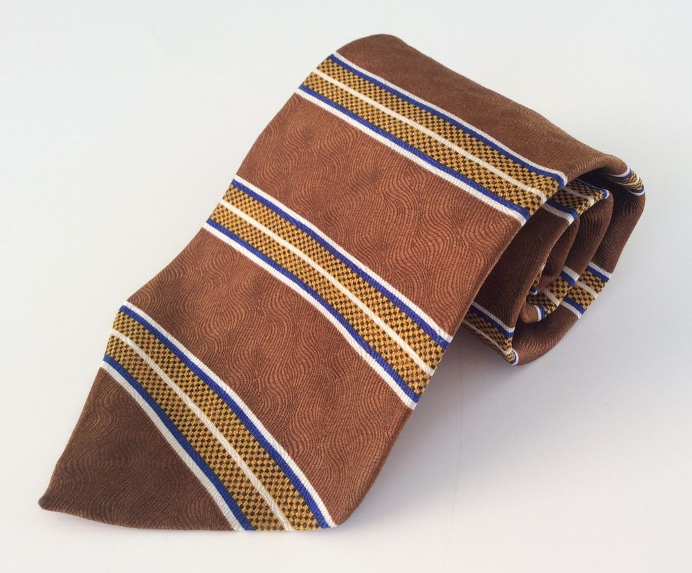 Evan Picone Neck Tie Brown Yellow Blue White Striped 100% Silk #EvanPicone #NeckTie