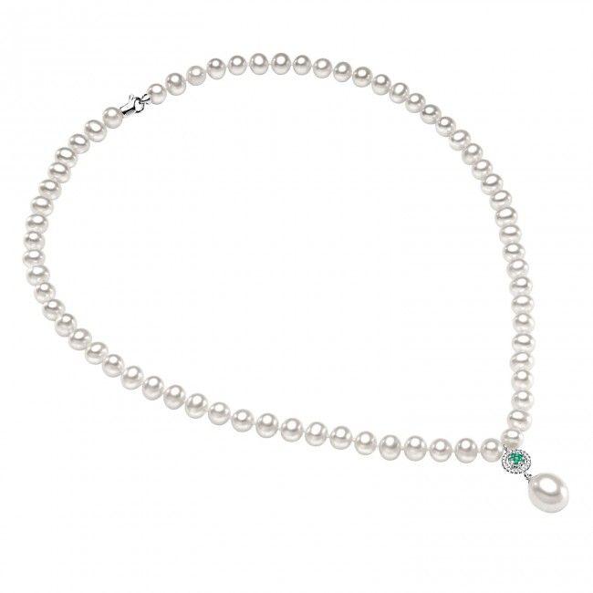 Girocollo in oro bianco e perle con diamanti e smeraldi #CometeGioielli _ Collezione Divina FWQ 126