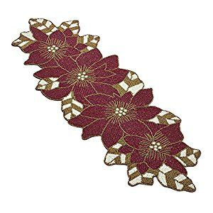 Amazon Com Red Amp White Beaded Christmas Holiday Poinsettia Flower Table Runner 15 Quot X 35 Quot Home A Floral Placemats Poinsettia Flower Poinsettia