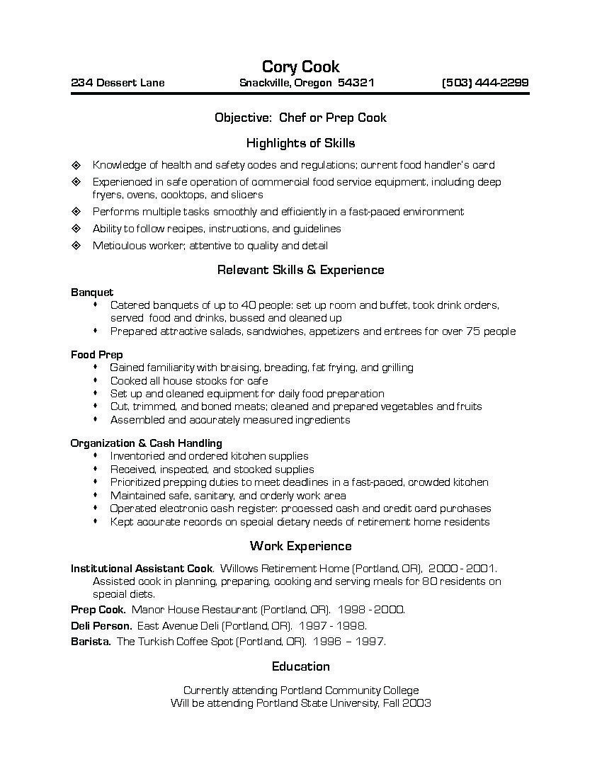 Chef Or Prep Cook Chef Resume Job Resume Samples Job Resume Examples