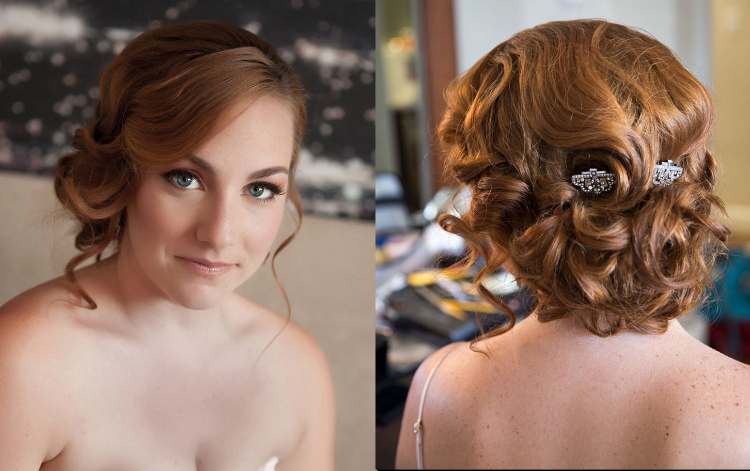 classic old hollywood curly bridal makeup and hair updo