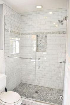 Clear Glass For Shower Niche Bathroom Ideas Pinterest Small Bathroom With Shower Bathroom Remodel Shower Small Bathroom Inspiration