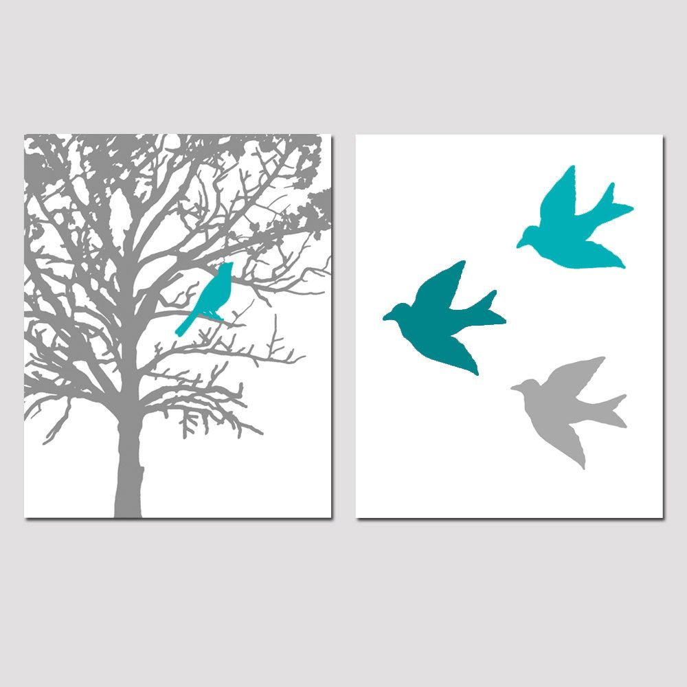 Oh i love set of two 8x10 prints birds and trees for Blue and grey bathroom sets