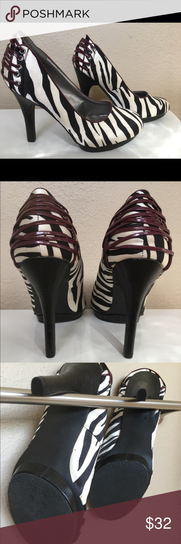 Madden Girl Zebra Print Heels Never worn in great shape! Runs slightly large for an 8.5! Would fit a size 9! NEW WITHOUT BOX Madden Girl Shoes Heels