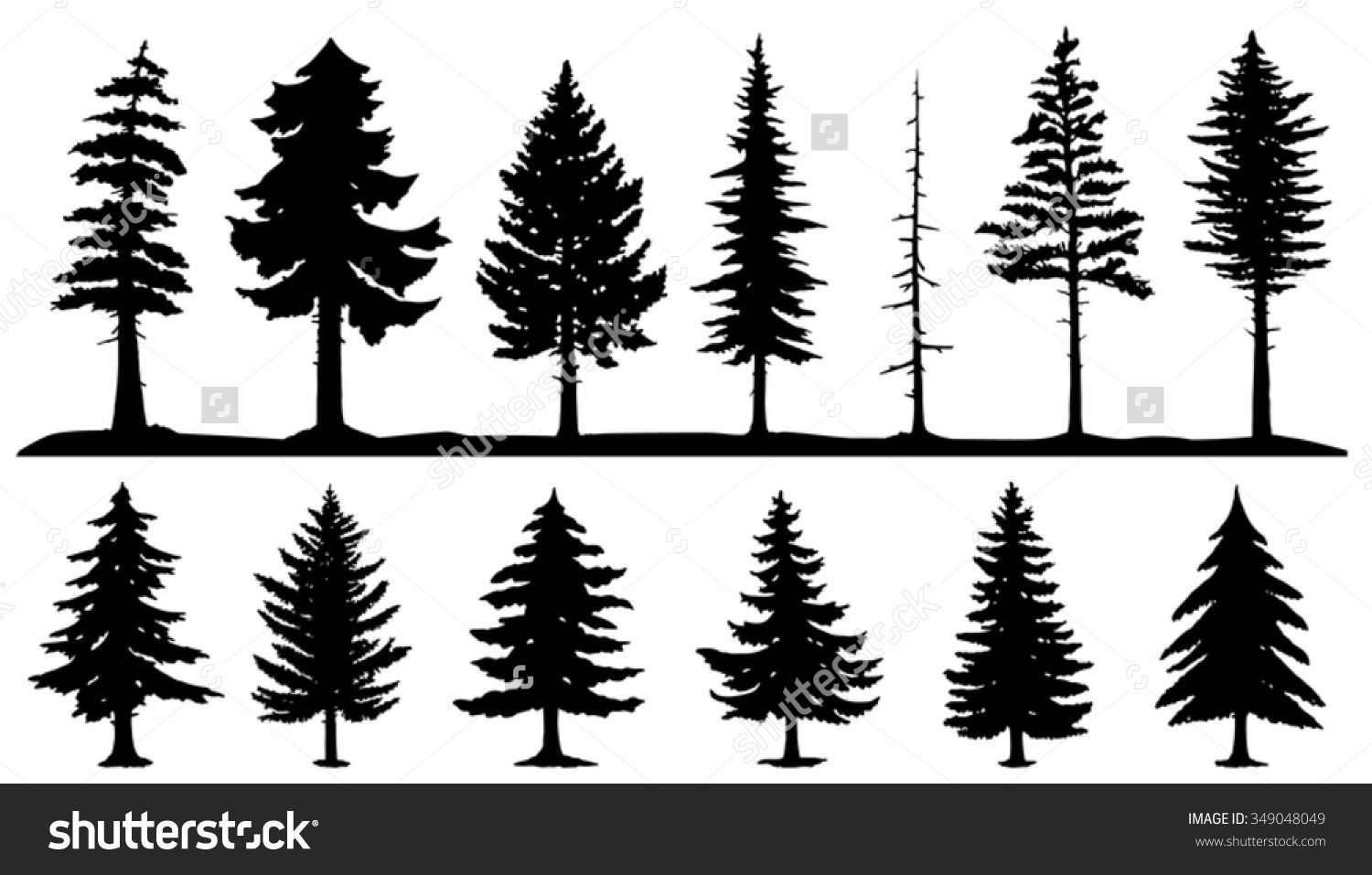 Forest Silhouette Tattoo Conifer tree silhouettes on the ...