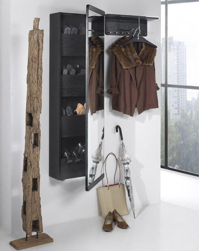 Modernistisk Væghængt WH skoskab med spejl - Skoskab i sortbejdset ask samt TS69