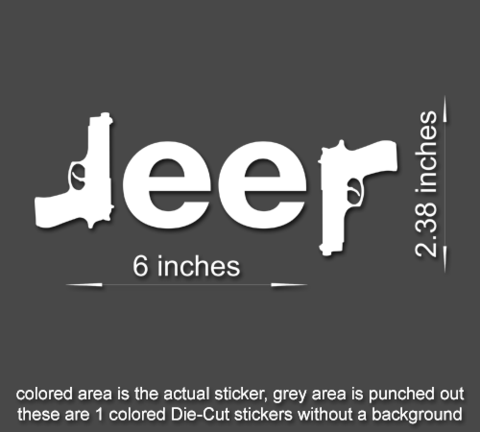 2 x jeep guns window sticker decal wrangler cy jy tj jk cherokee 60546