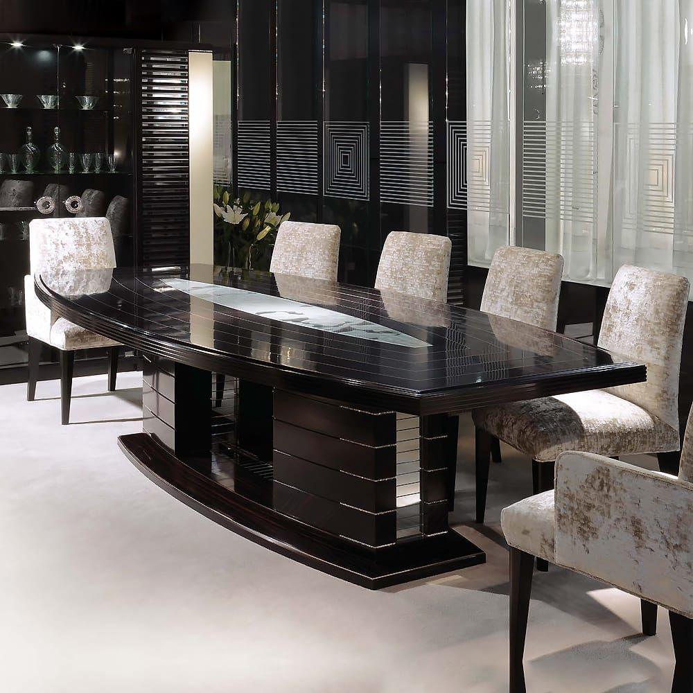 Large Modern Ebony Dining Table Set Featuring Swarovski Crystals
