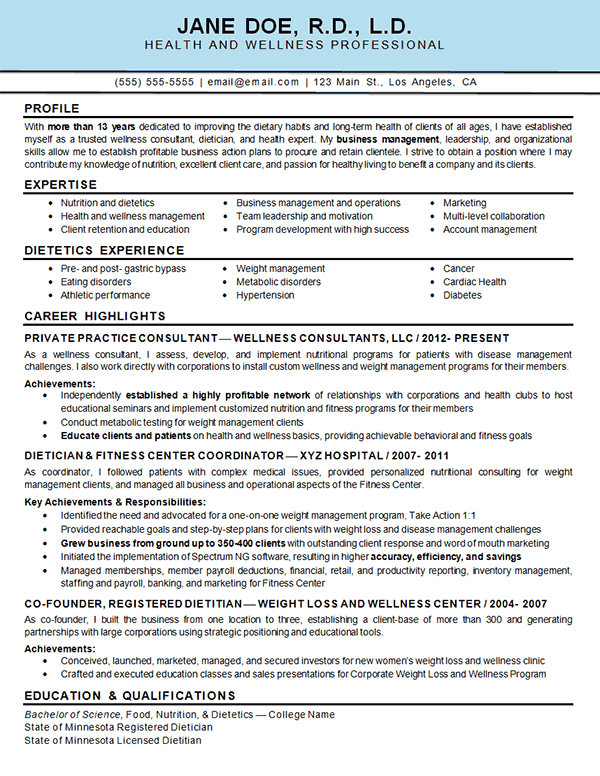 Health Wellness Health And Wellness Teaching Resume Resume Examples