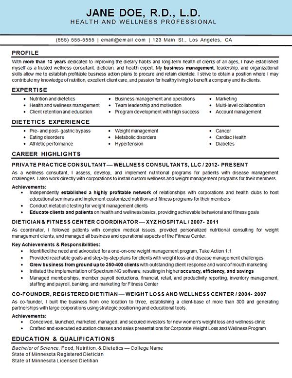 health wellness resume example best resume examples ideas
