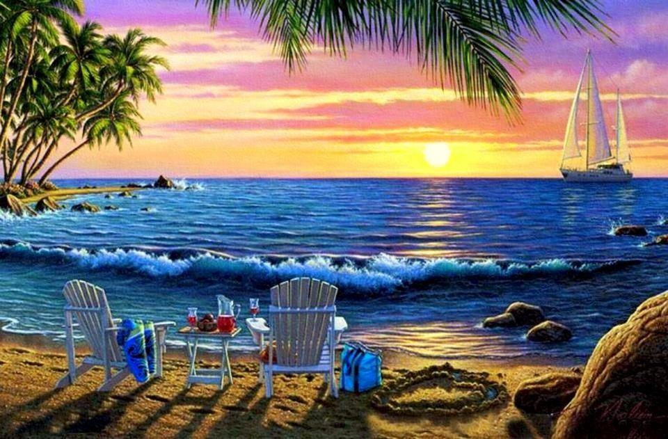 Beach sunset scene art ART Pinterest