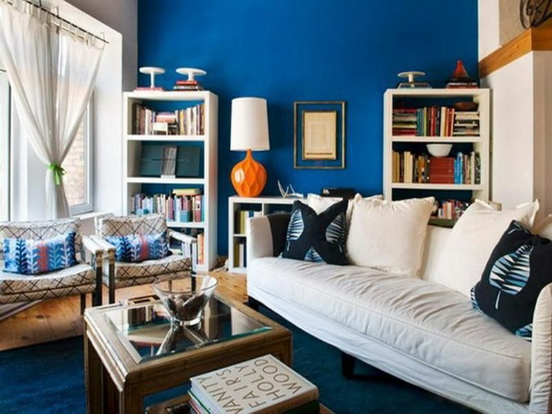 Cobalt Blue Interior Paint Stunning Cobalt Blue Interior Paint Room Design Blue Living Room Room Interior Design