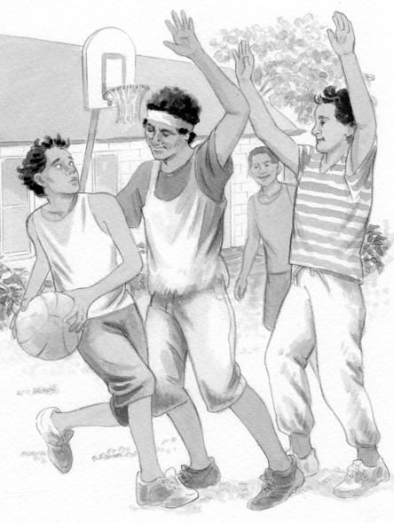 Teenage boys playing basketball, an #illustration by Anni Matsick http://ow.ly/LeTNL