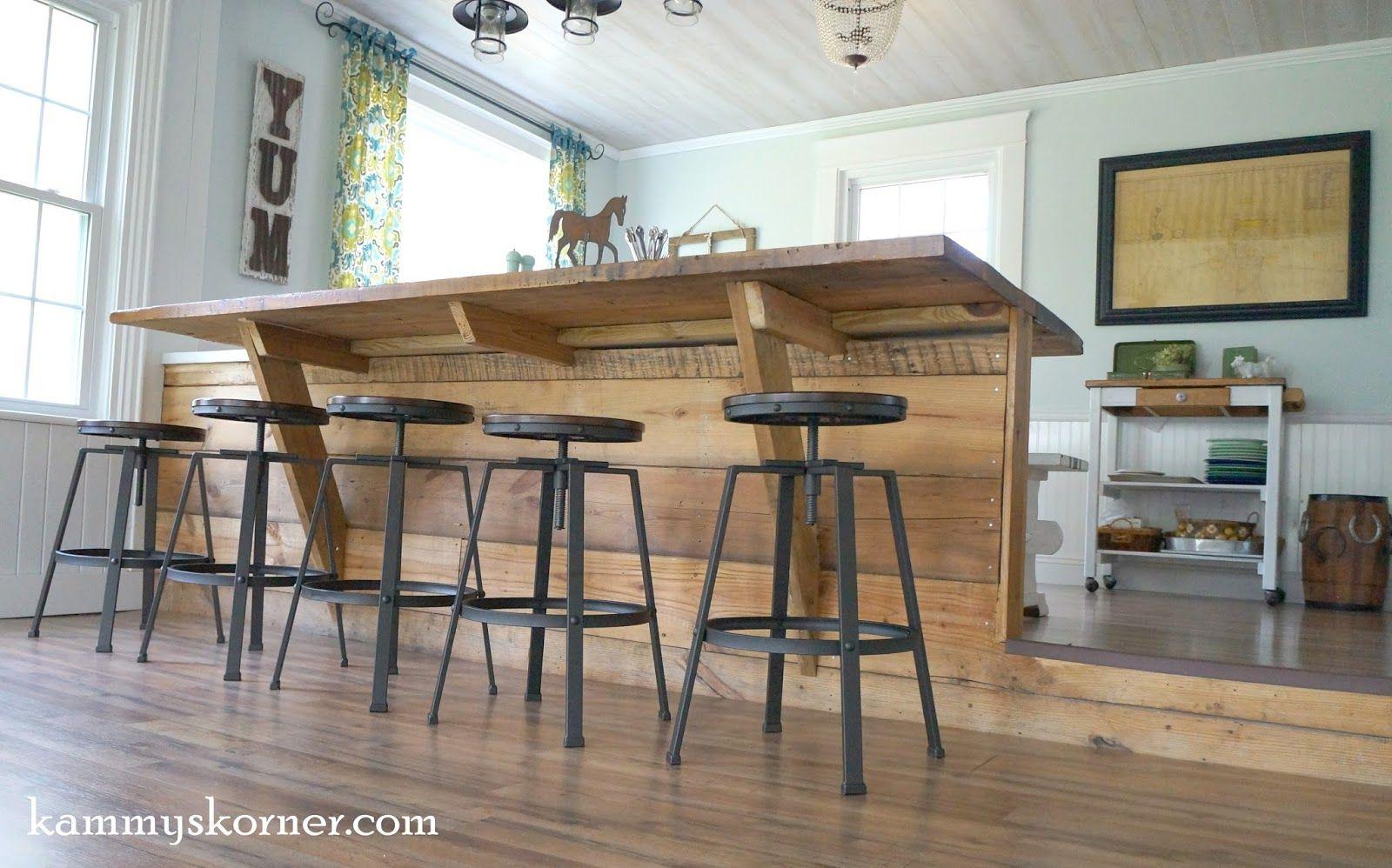 20 Step Down Sunroom Built In Breakfast Bar Made Of Reclaimed