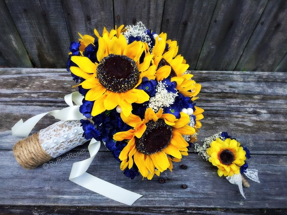 Rustic Sunflowers with Navy flowers and baby\'s breath | Sunflower ...