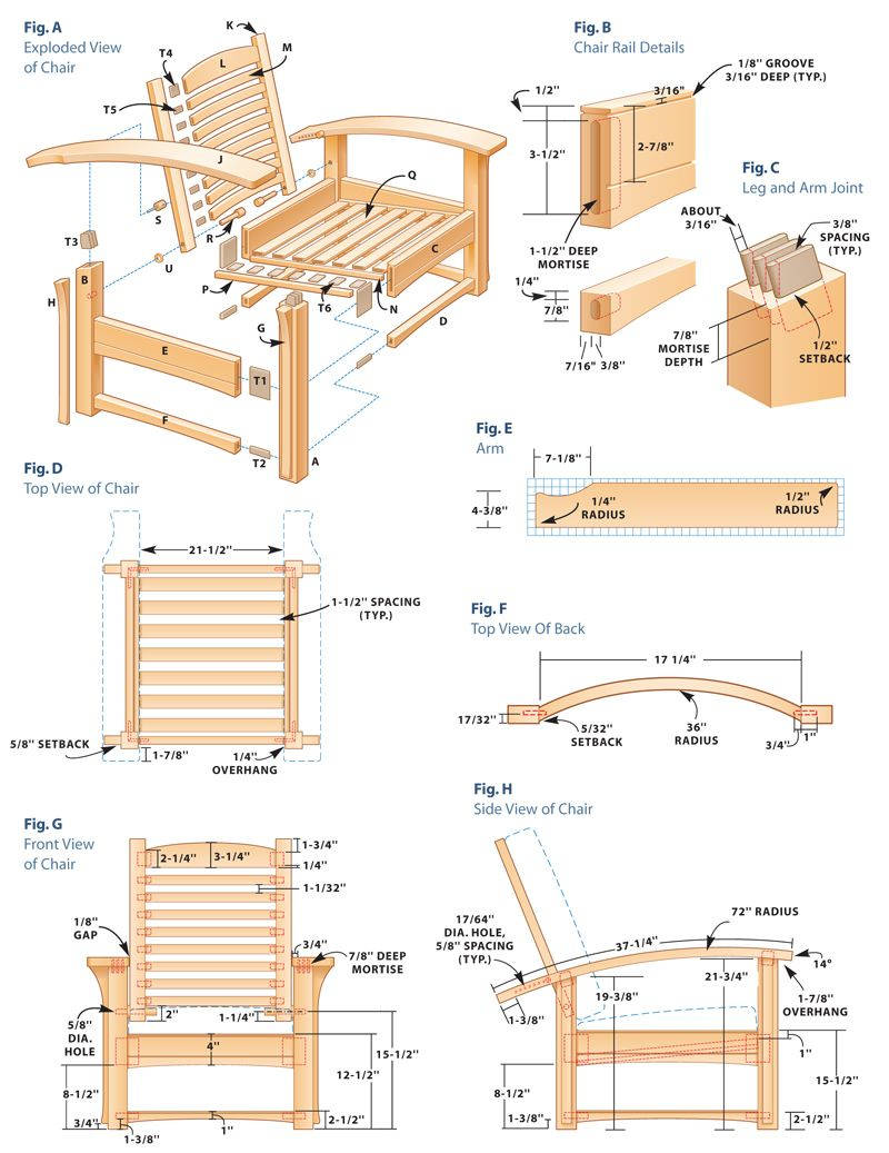 Contemporary Morris Chair And Ottoman Chair Woodworking Plans