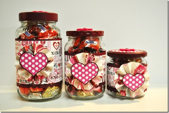 VALENTINES DAY:  USE OLD FOOD JARS FOR TREATS AND CANDY  http://theautocrathaley.blogspot.com/