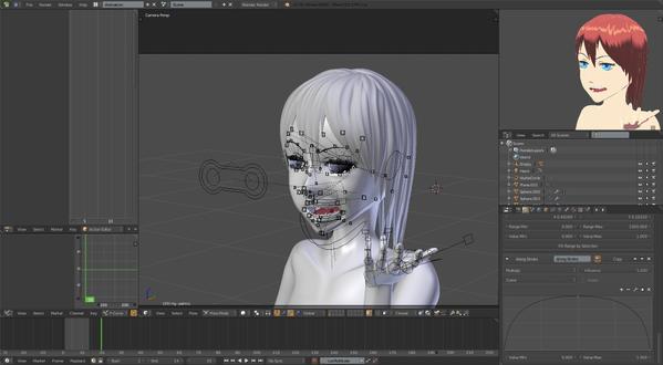 3d girl blender anime face rig toon shader