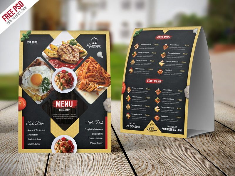 Nice Restaurant Menu Table Tent Card PSD Template Download Free - Cafe Menu Template