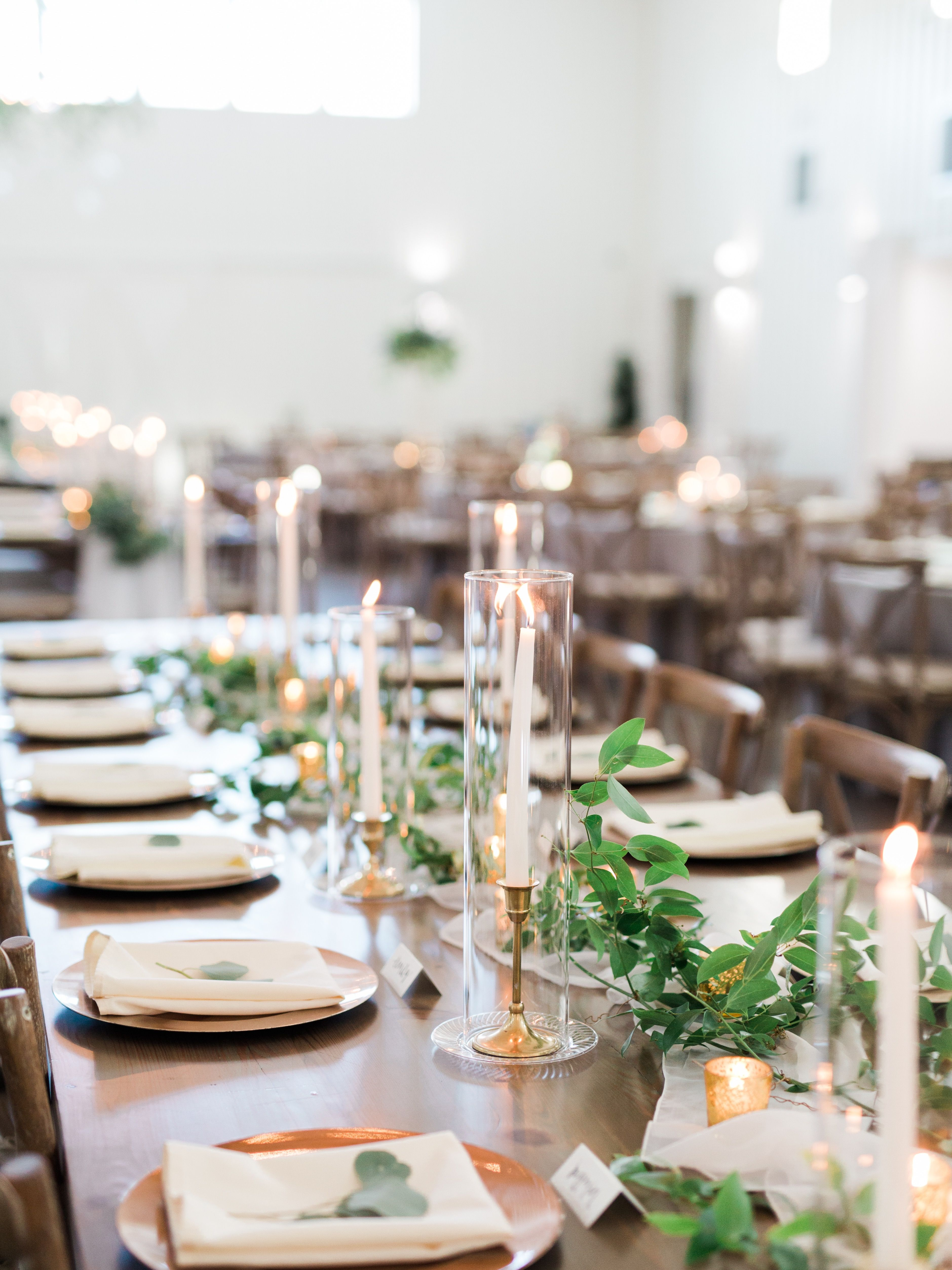 Simple Candle And Greenery Wedding Centerpiece With Images