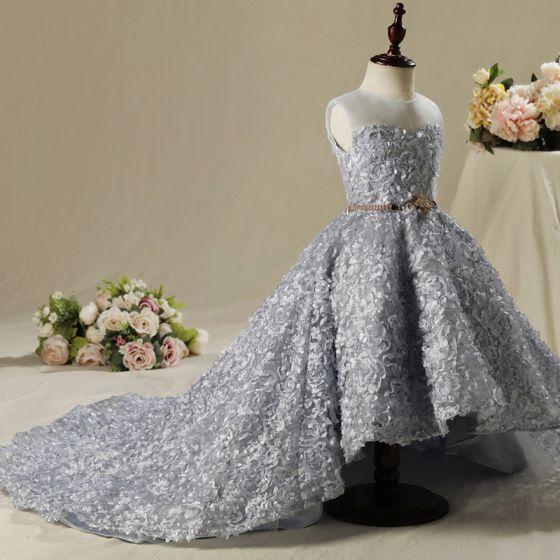 Chic   Beautiful Church Wedding Party Dresses 2017 Flower Girl Dresses  Silver Ball Gown Asymmetrical Scoop Neck Sleeveless Rhinestone Metal Sash  Appliques ... f30c4476d8f1