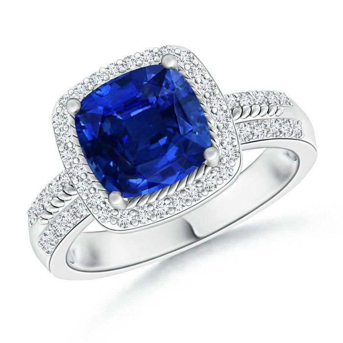 Angara Diamond Floral Halo Blue Sapphire Cathedral Ring in White Gold 1LPLJW21C4