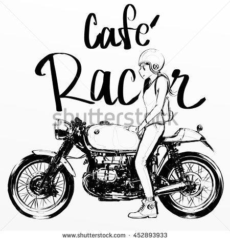 cafe racer bike banner girl riding motorcycle stock photo Cafe Racer Concept cafe racer bike banner girl riding motorcycle stock photo