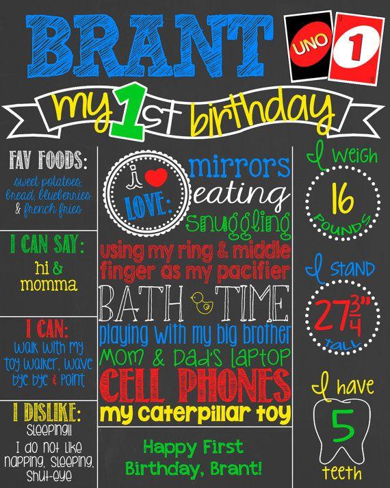 1st Birthday Chalkboard Uno 1st Birthday Uno Bday 1st Bday Stats Sign Uno First Birthday Chalkboard Uno Cards Boy First Bday