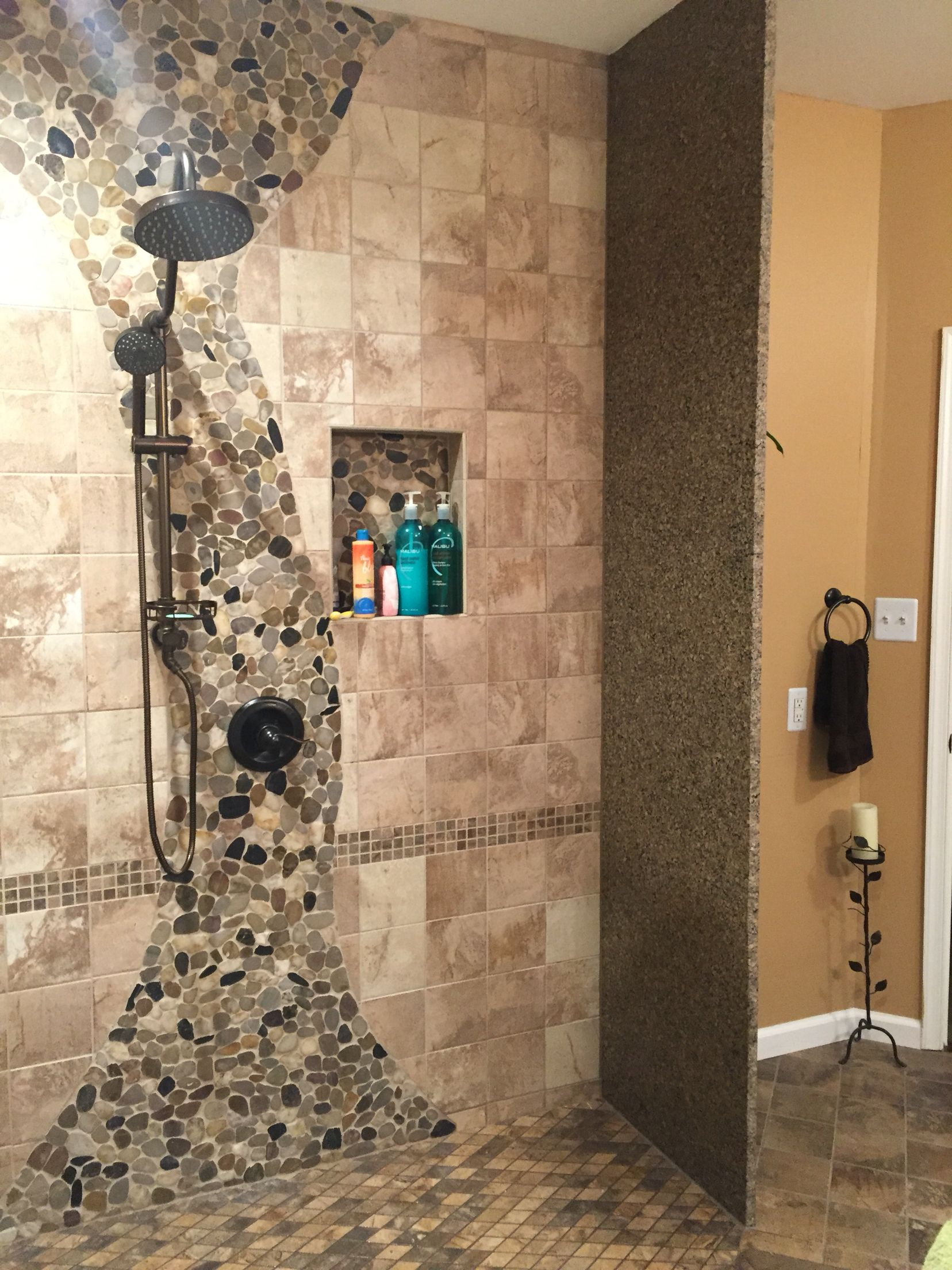 stone coloured bathroom tiles walk in shower granite wall spa rainfall shower 20688
